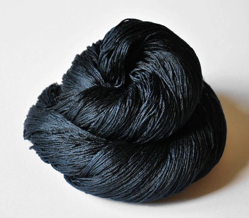 handgef\u00e4rbte Seide A dark storm is coming Silk Lace Yarn Hand Dyed Yarn handdyed silk lace yarn
