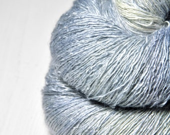 Under the blue moon OOAK - Tussah Silk Lace Yarn - Hand Dyed Yarn - handgefärbte Wolle - DyeForYarn
