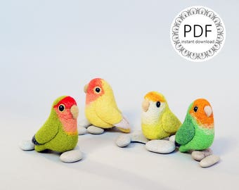 Instant Download PDF - Lovebird, DIY wool roommate / craft instructions, needle felting tutorial