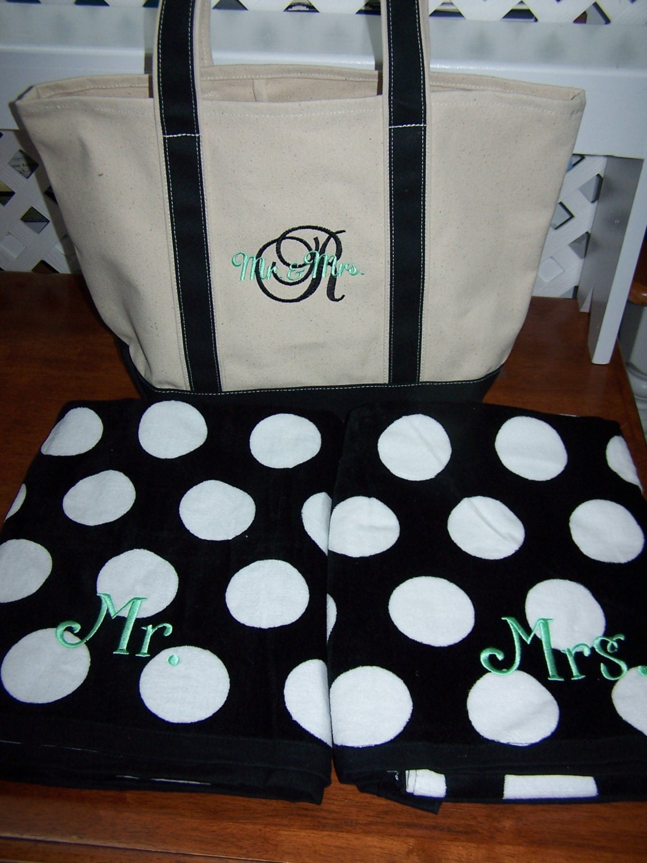 Personalized beach bag beach towel set polka dot beach towel monogrammed beach bag honeymoon beach set