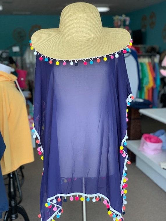 fe1535fc16 Monogrammed pom pom cover up pom pom beach hat floppy hat swim | Etsy