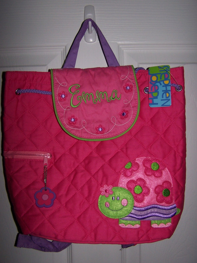 Personalized Stephen Joseph pink turtle backpack