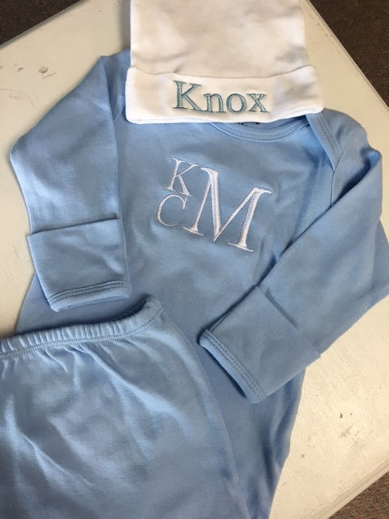 Monogrammed infant gown personalized white gown newborn gown  21d4897c6372