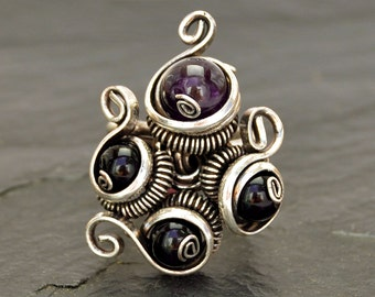 Wire Wrapped Ring, Gothic Ring, Boho Ring, Black and Purple, Bohemian Ring, Stone Silver Ring, Gemstone Ring, Womens Ring