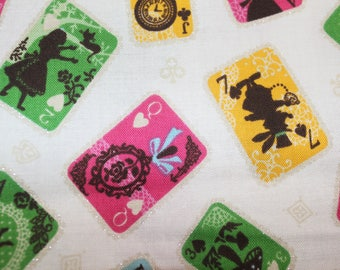 Alice in Wonderland playing cards sparkle fabric