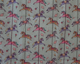 Mint green carousel horse 100% cotton fabric