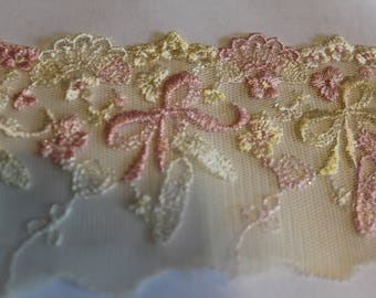 Ballerina pink and yellow net lace trim