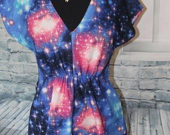 Galaxy print pullover stretch tunic