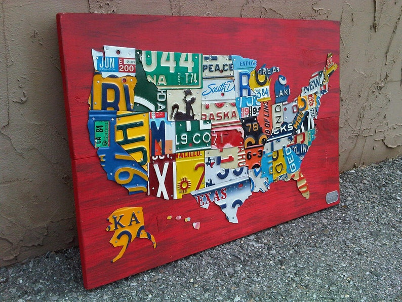 Us Map Made Out Of License Plates.License Plate Map Of The United States Metal Artwork Etsy