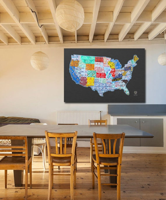 License Plate Map of the USA Canvas PRINT