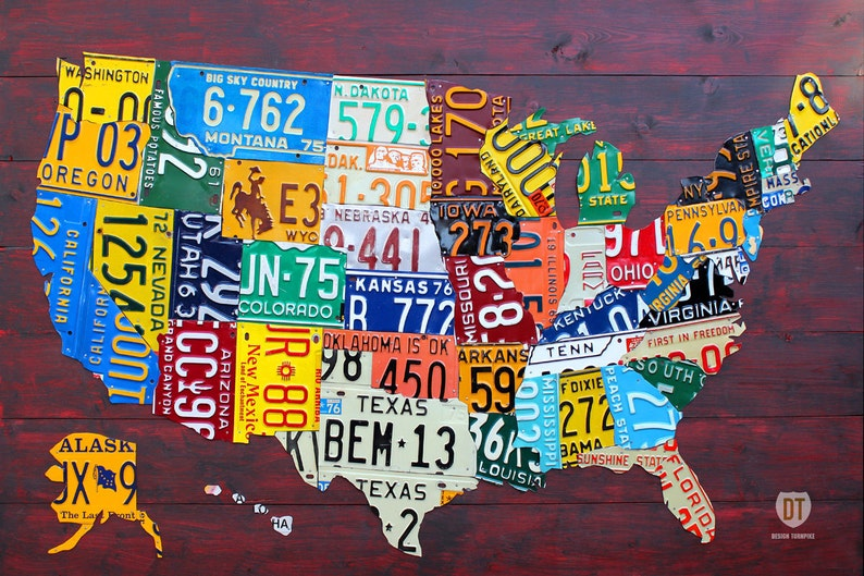License Plate Map Of The United States Art Large Size Etsy - Us-map-license-plates