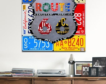 Route 66 Road Sign Recycled License Plate Art Metal PRINT