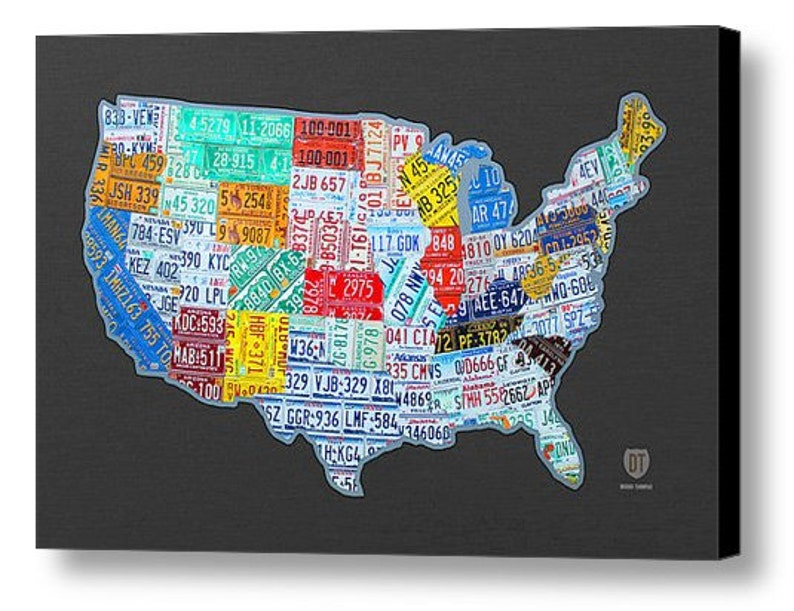 License Plate Map of the USA Canvas PRINT | Etsy