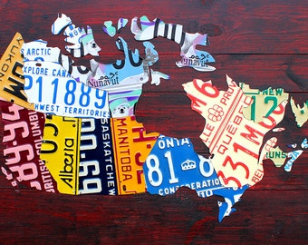 "Medium License Plate Map of Canada - 36"" x 24"""