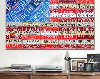 American Flag Recycled License Plate Art Metal PRINT