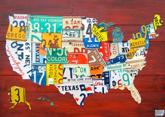 License Plate United States Map.License Plate Map Of The United States Medium Size 36 Etsy