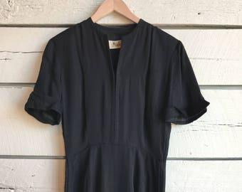 Vintage 1940s dress • rayon dress • 40s black dress