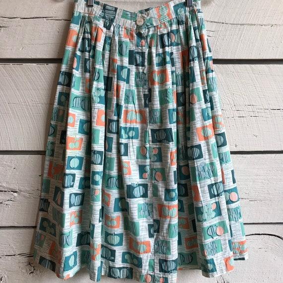 Vintage 1950s fruit skirt • 50s cotton skirt • vin