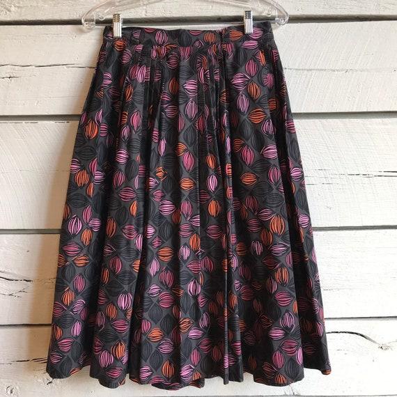 Vintage 1950s novelty print skirt • vintage cotton