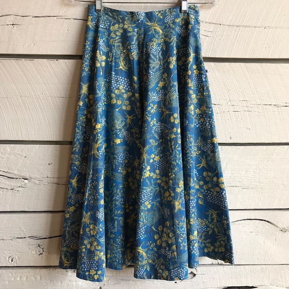 Vintage 1950s novelty print skirt • vintage cotton
