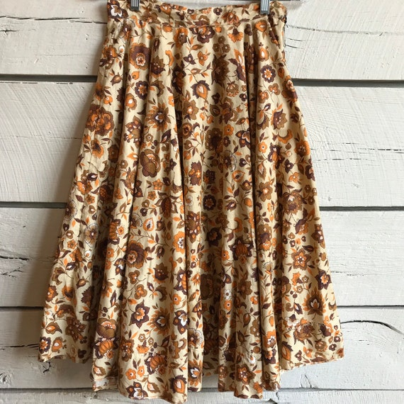 Vintage 1950s fall floral skirt • vintage novelty