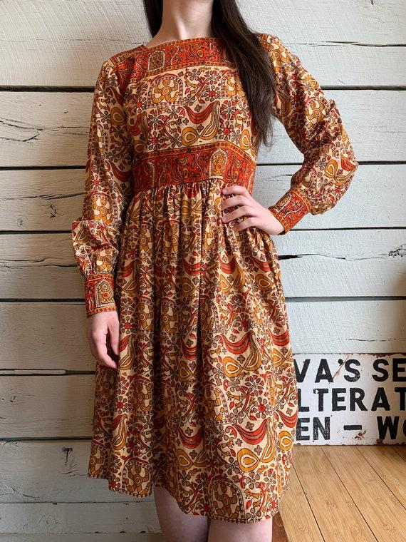 Vintage 1970s KARAVAN Indian Cotton Dress
