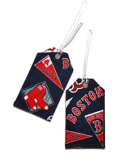 1d9c54f57ae1 Handmade luggage tags - MLB Boston - red socks - baseball fan - red and  white - Travel gift ideas - Unisex birthday gift - gift for him