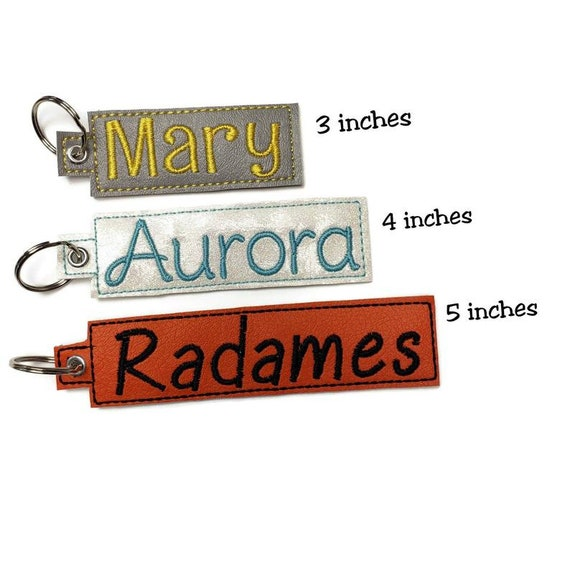 Handmade tag with name embroidered You pick the color bag tag birthday gifts under 20 Ruby font back to school Tag with split ring