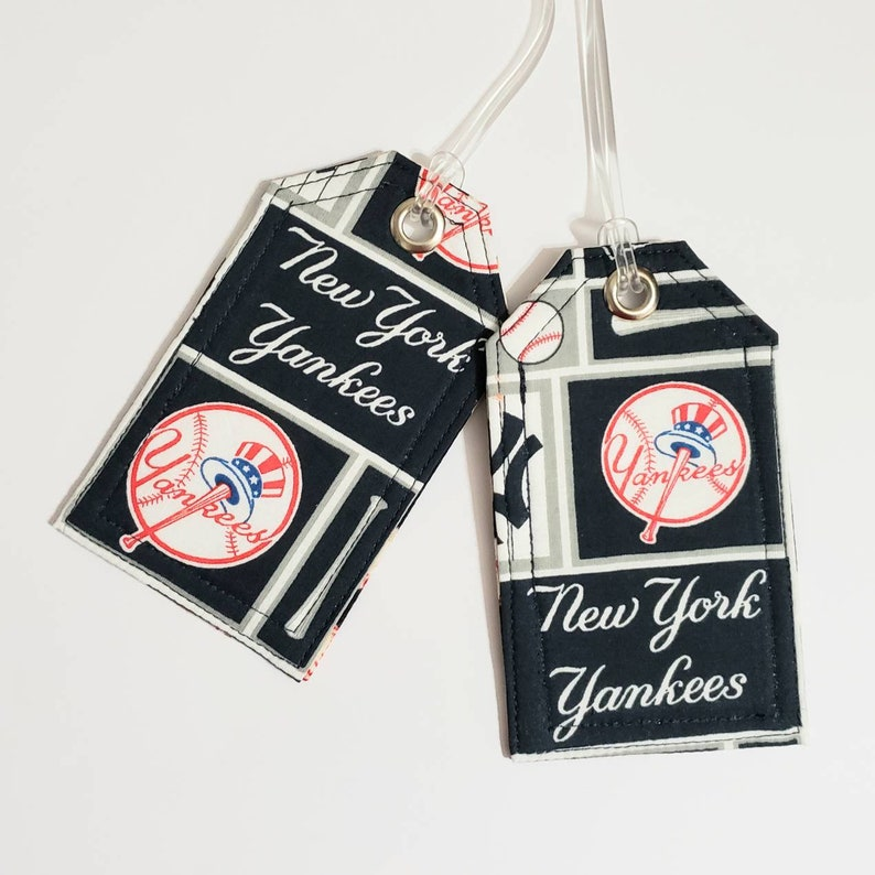 b27a9022c3ba Handmade luggage tags - MLB New York - Yankees - baseball fan - blue red  and white - Travel gift ideas - Unisex birthday gift - gift for him