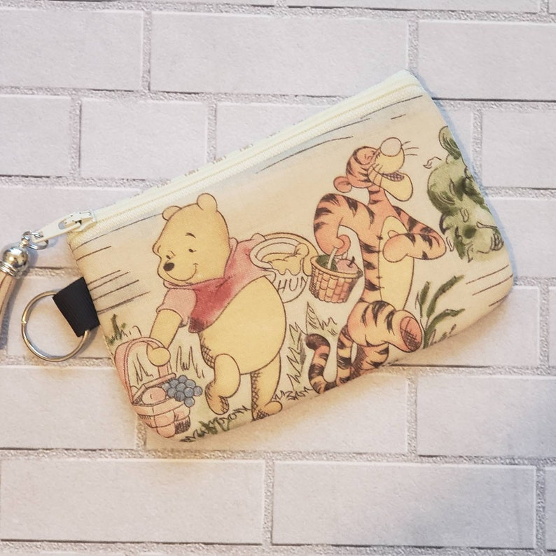 Handmade small card holder Winnie the Pooh -ID wallet coin purse with key ring cute pouch birthday gift ideas kids lunch money holder