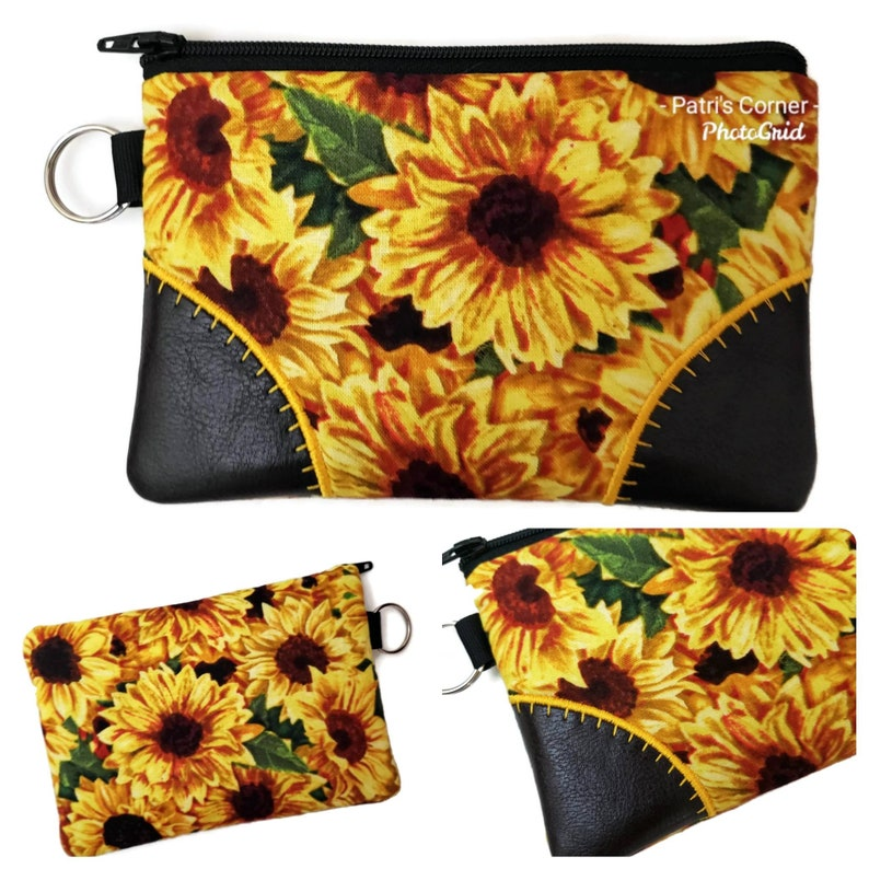 small credit cards keeper- ready to ship southwest sunflowers road trip license plate coin purse Handmade small pouch with zipper pull