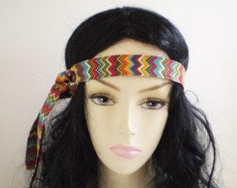 Colorful Boho Headband Tie, Chevron Boho Headband Tie, Bohemian Headband, Tribal Headband, Colorful Hippie Headband, Headband Ties