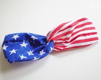 Patriotic Turban Headband, Red White Blue Headband, Stars Stripes Headband, USA Twist Headband
