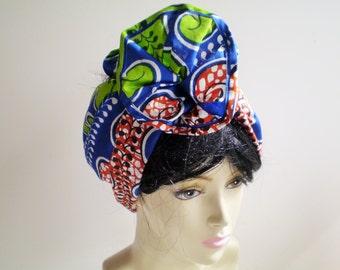 African Blue Red Green Head Wrap, African Head Scarf, Blue Red African Head Wrap, Blue Green African Head Wrap