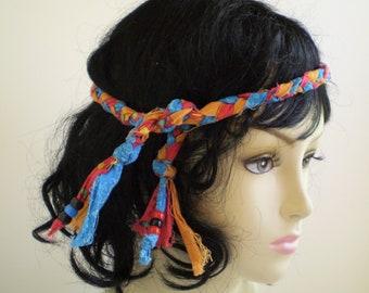 Boho Braided Head Tie, Bohemian Braided Headband, Hippie Braided Headband, Braided Headband Tie, Teal Red Boho Headband