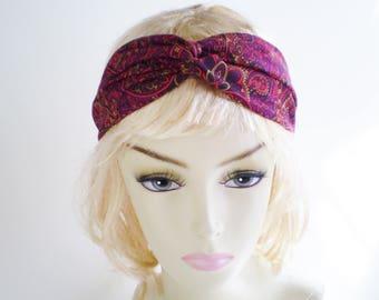 Dark Fuchsia Paisley Turban, Fuchsia Purple Turban Headband, Paisley Twist Headband, Fuchsia Boho Turban Headband, Bohemian Headband