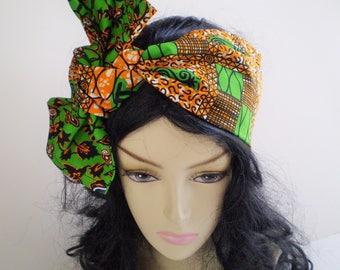 Small Orange Green African Head Scarf, Small Orange Green African Head Wrap, Reversible African Green Orange Head Scarf