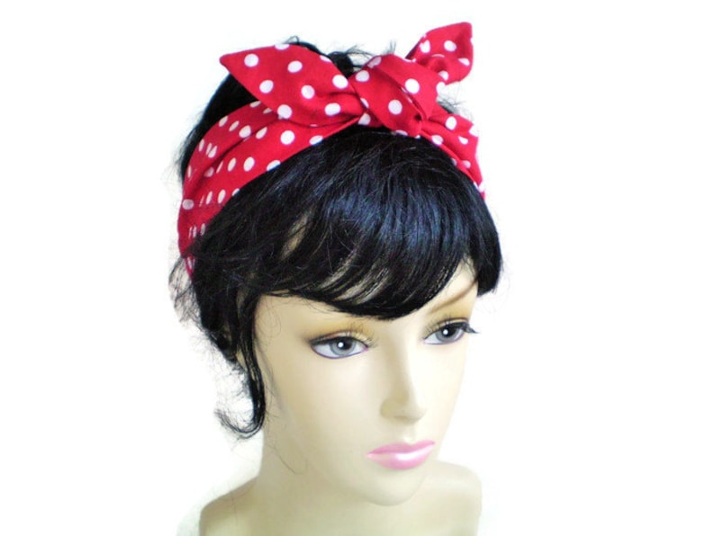 d65f89983a4 Red and White Polka Dot Head Scarf 1940s Head Scarf 1950s