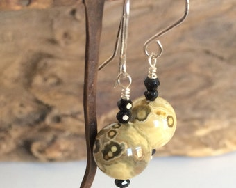 Ocean Jasper and Black Spinel Drop Earrings with Handmade Sterling Silver Ear Wires
