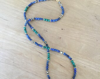 Lapis Lazuli and Malchite Necklace with Pyrite and Gold Vermeil