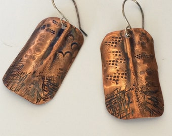 Copper Foldformed, Stamped, Textured Earrings with Sterling Silver Earwires