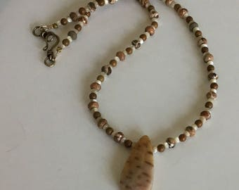 Boho Rustic Tribal Fossil Palm Pendant Necklace with Safari Stone, Picture Jasper and Mother of Pearl