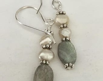 Drop Earrings Labradorite and Freshwater Pearl Drop Earrings with Sterling Silver Ear Wires