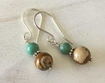 Drop Earrings Picture Jasper and Turquoise Earrings with Sterling Earwires