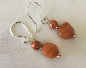 Gemstone Drop Earrings Orange Aventurine and Fire Agate Earring