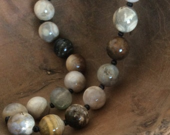 Boho Rustic Artisan Ocean Jasper and Black Spinel Necklace
