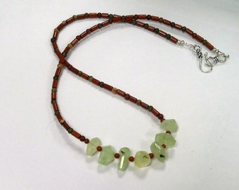 Rustic Boho Tribal Necklace with Prehnite Nuggets, Red Jasper and Poppy Jasper