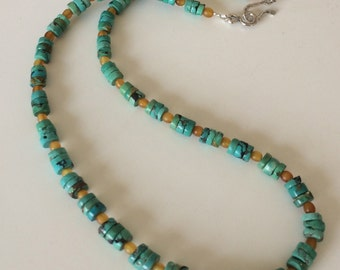 Unisex Necklace Mens Necklace Turquoise Heishi Horn Necklace Boho Rustic