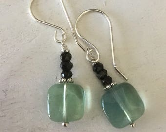 Drop Earrings Gemstone Earrings Flourite and Black Spinel Earrings Sterling Earwires