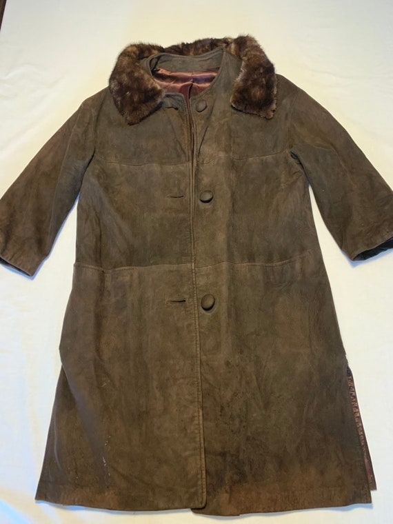 Long suede coat with mink collar 1960s